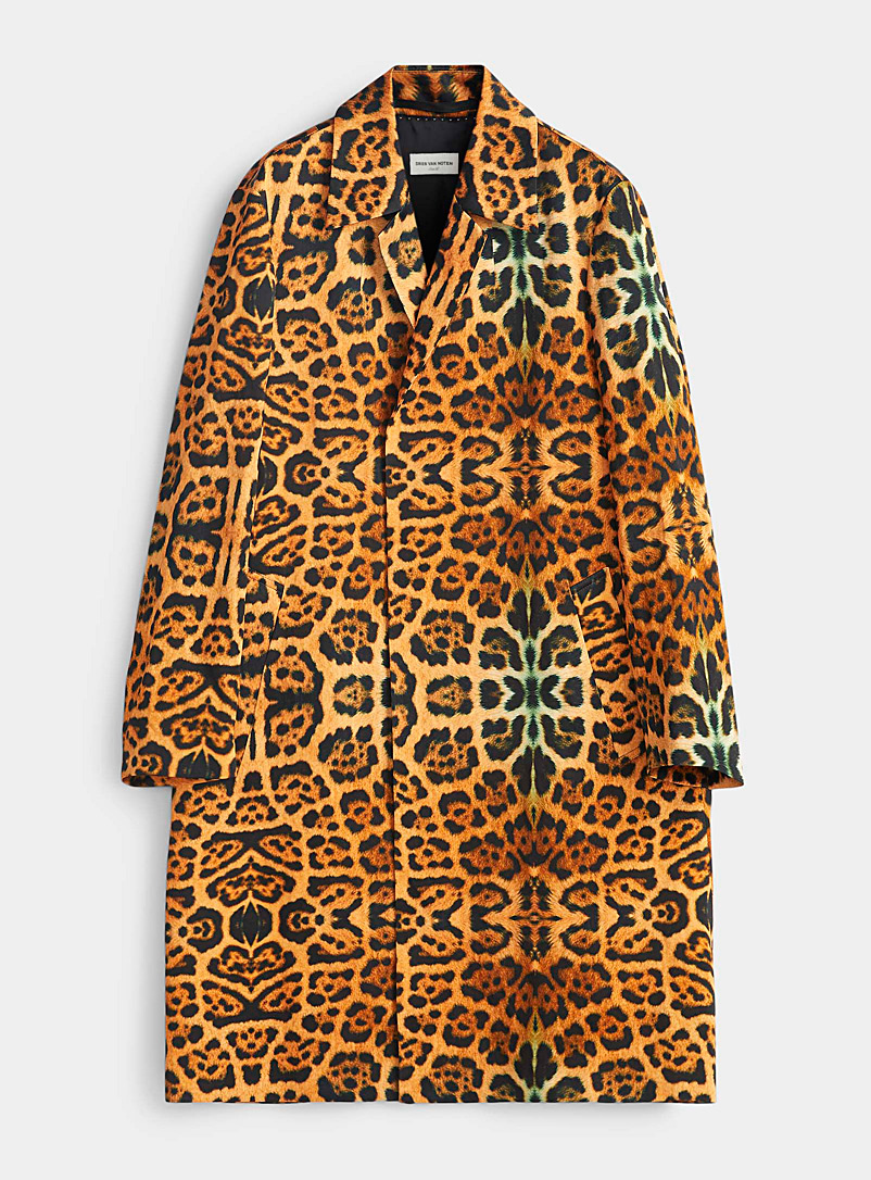 Dries Van Noten Copper Rolta leopard coat for women