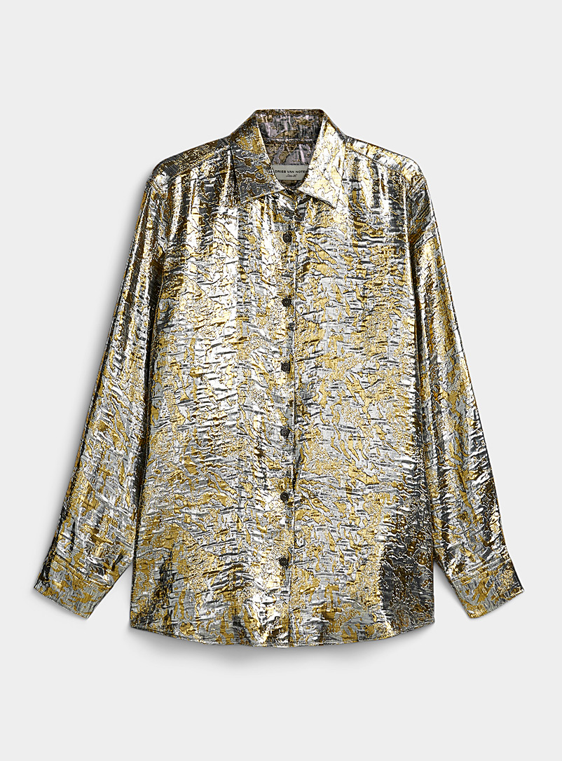 Dries Van Noten Silver Clavelly metallic shirt for women