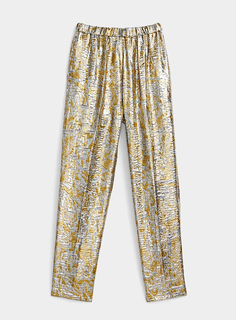 Dries Van Noten Silver Palmira metallic pant for women