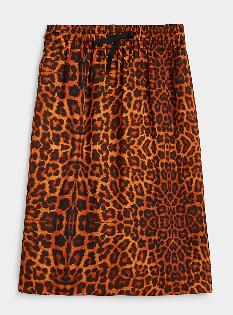 Dries Van Noten Copper Leopard print sporty skirt for women