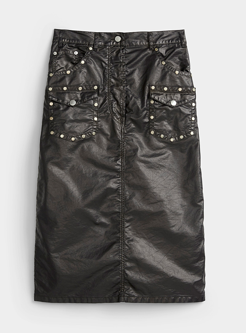 Dries Van Noten Black Studded faux-leather skirt for women