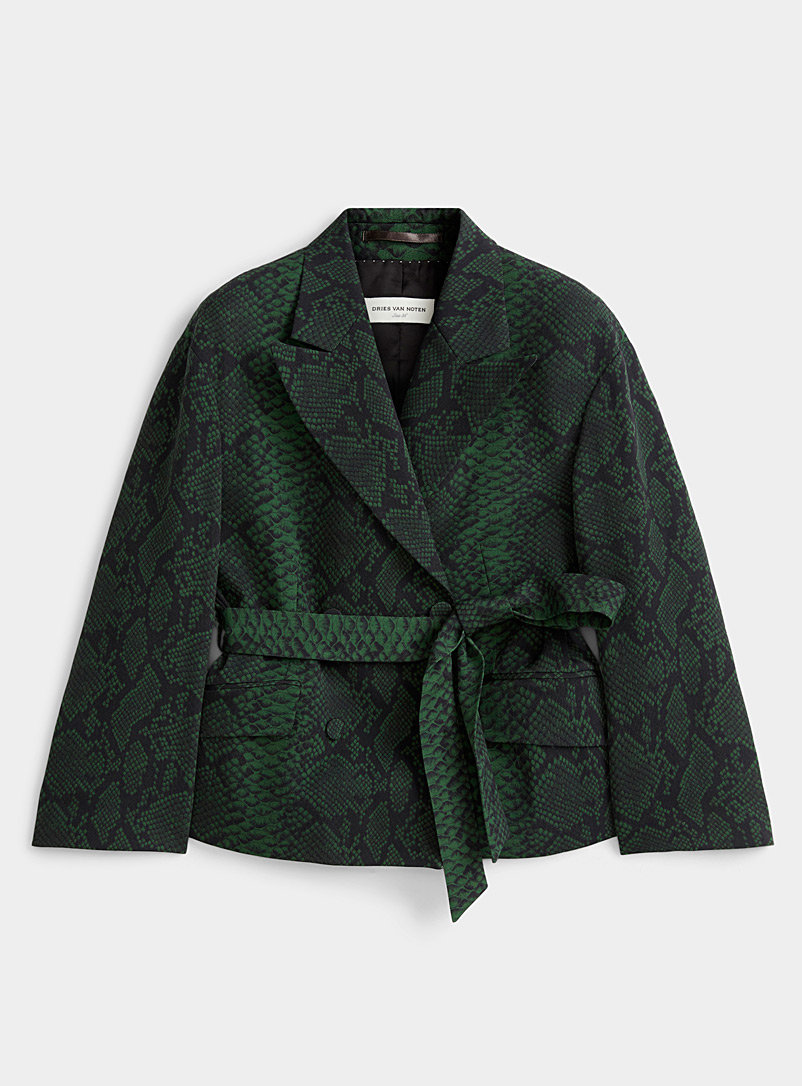 Dries Van Noten Mossy Green Bouncy belted snake jacket for women