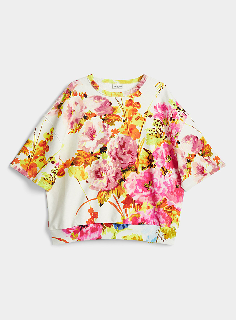 Dries Van Noten Cream Beige Elovi floral sweatshirt for women