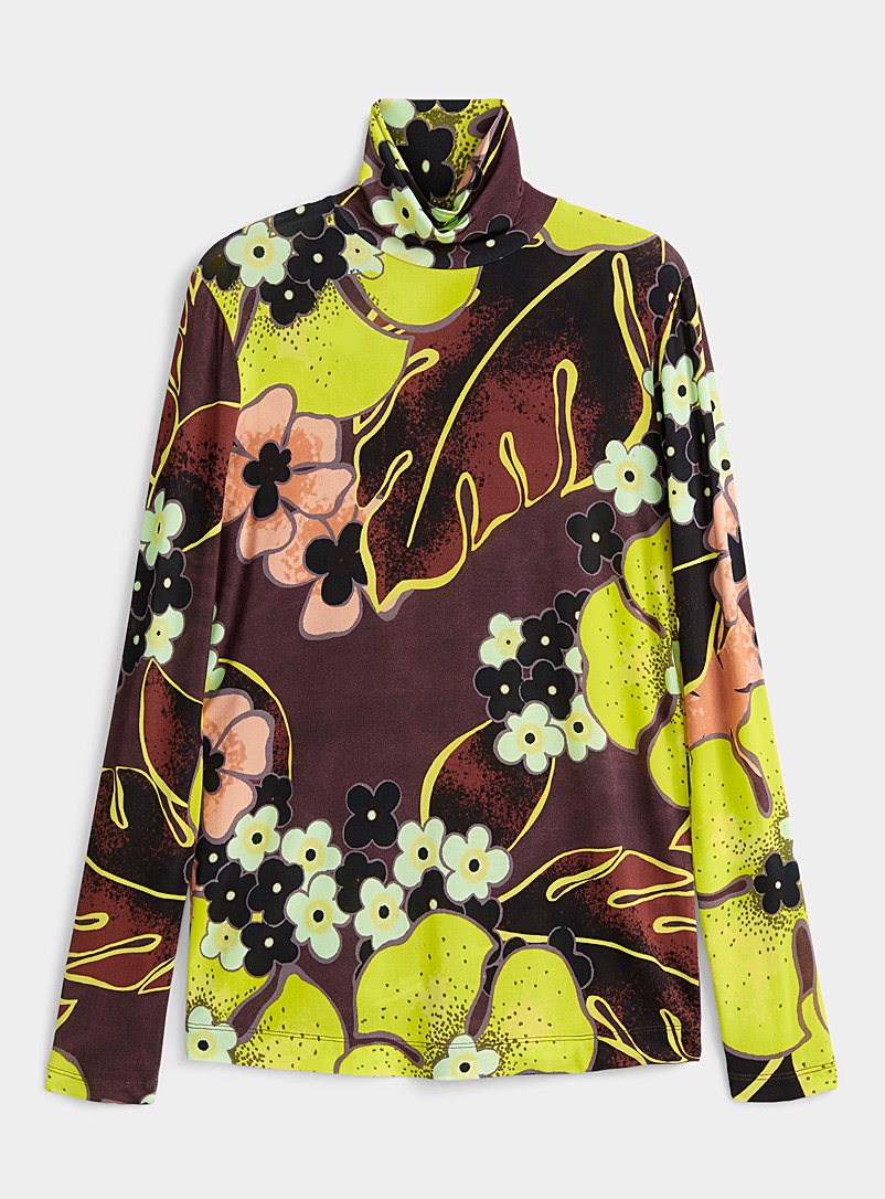 Dries Van Noten Blue Hasko floral jersey mock neck for women