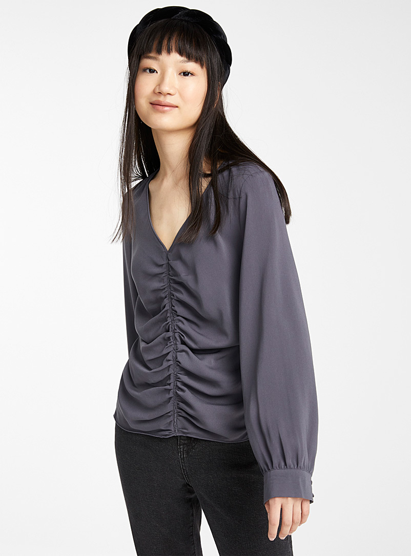 Twik Black Centre gather blouse for women