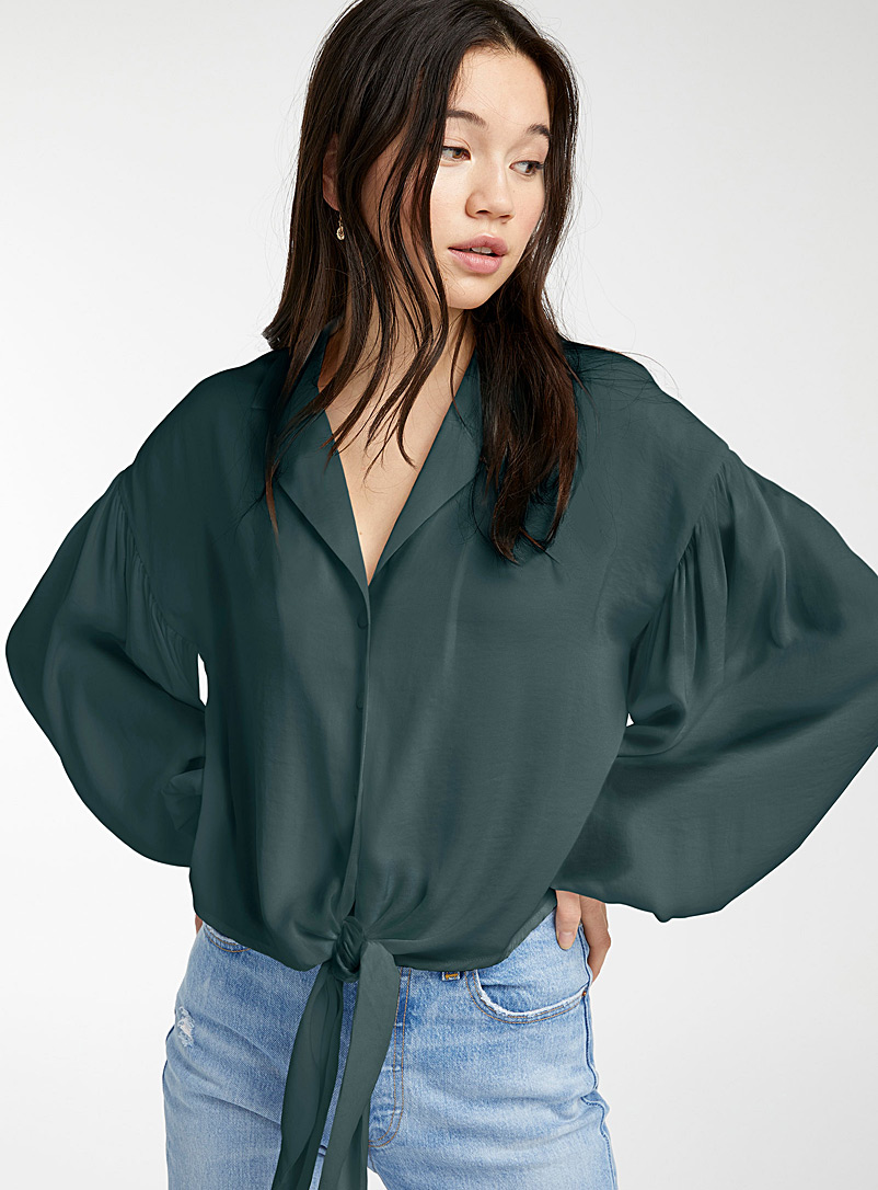 Twik Bottle Green Accent buckle puff-sleeve blouse for women
