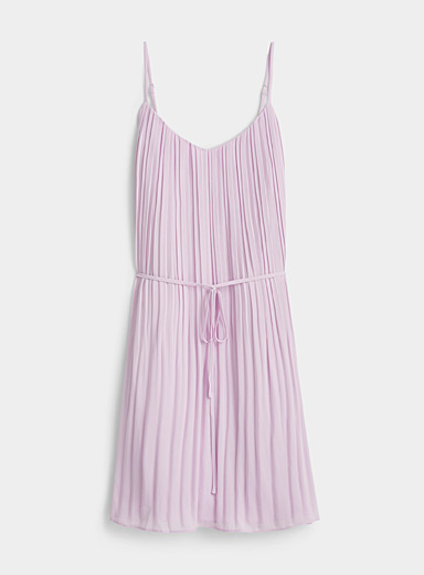 Twik Lilacs Pleated sheer voile belted dress for women