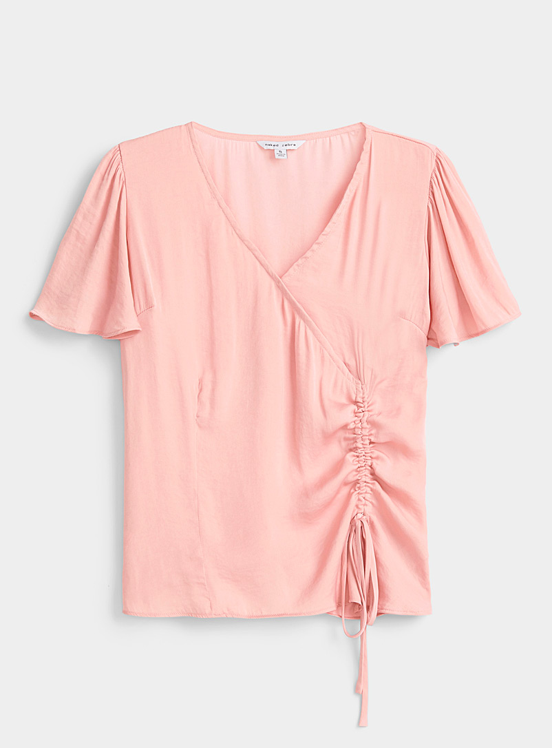 Twik Pink Gathered drawstring satiny blouse for women
