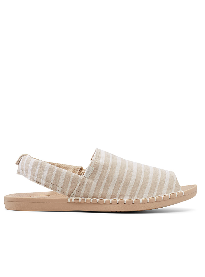 Reef Cream Beige Escape cream stripe sandals for women