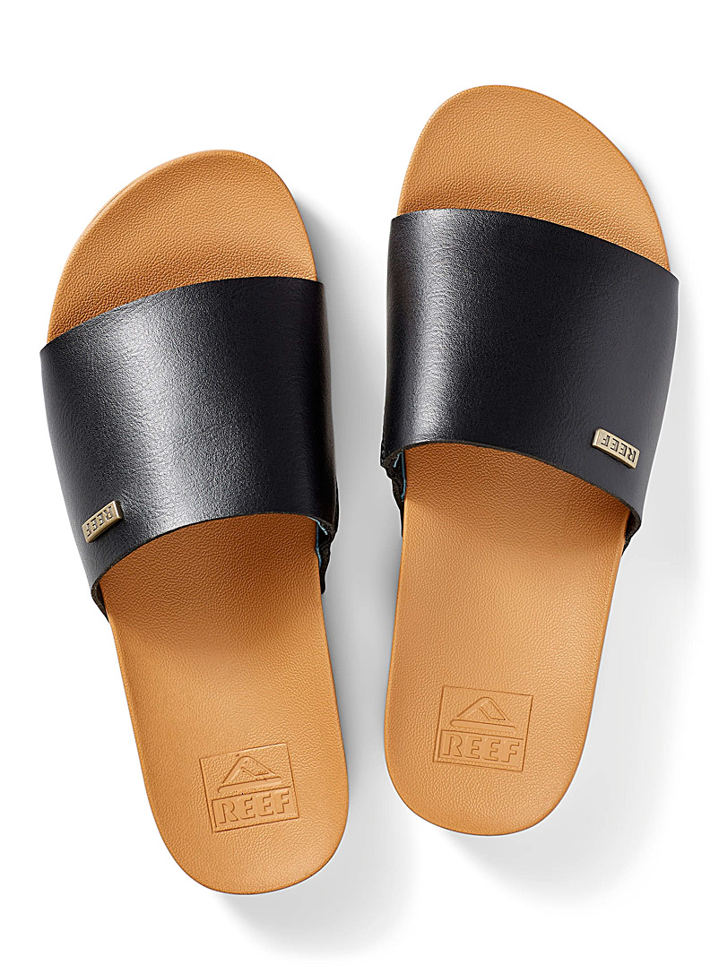 Reef Black Scout slides for women
