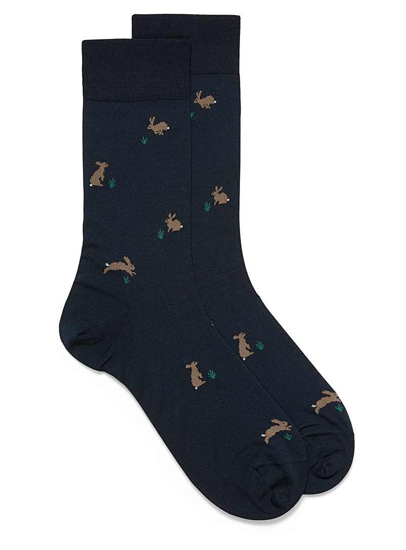 Le 31 Patterned Blue Little rabbit dress socks for men