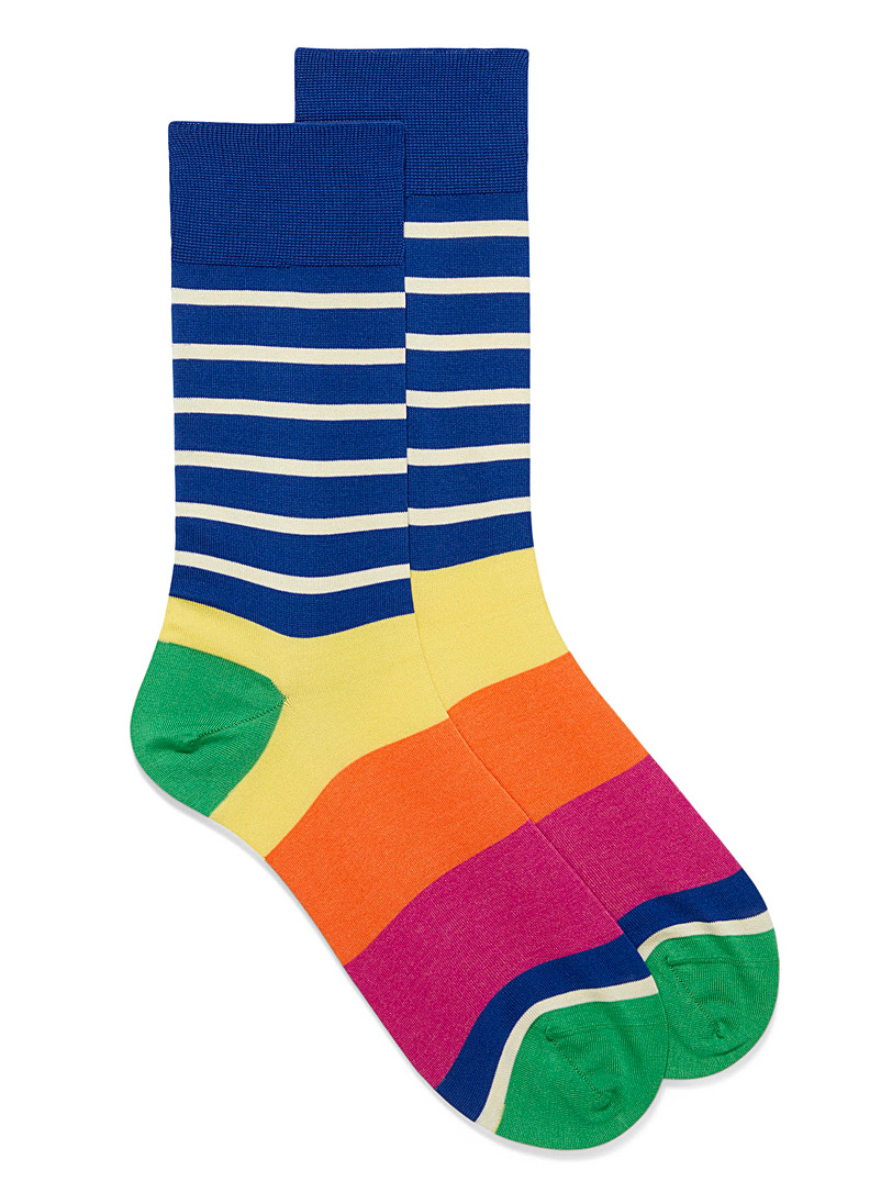 Le 31 Assorted Pop block-stripe socks for men