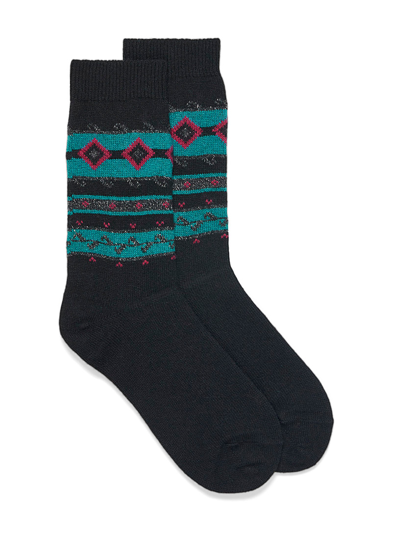 Simons Black Retro jacquard knit socks for women