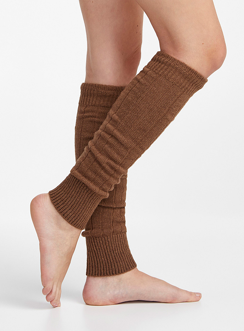 Simons Dark Brown Wool and cashmere knit legwarmers for women