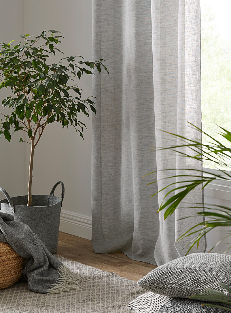 Minimalist heather sheer curtain  2 sizes available - Extra long - Grey