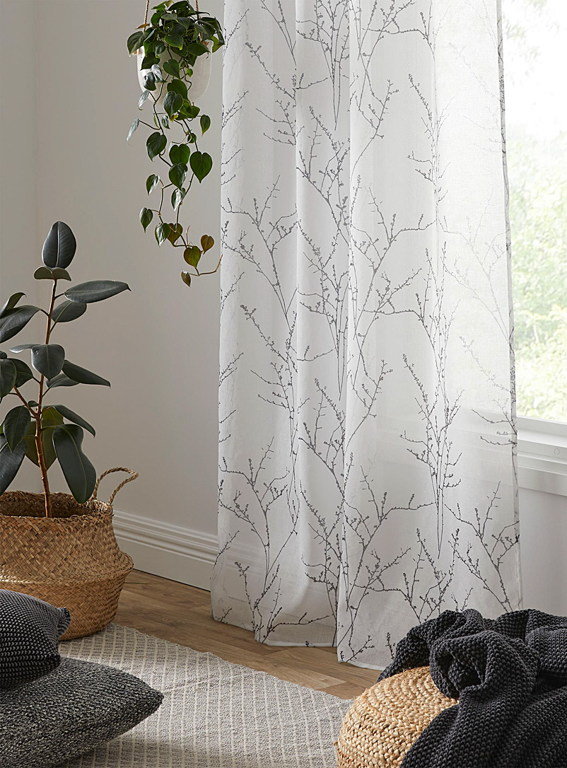 Fall branches voile curtain  2 sizes available - Extra long - Dark Grey