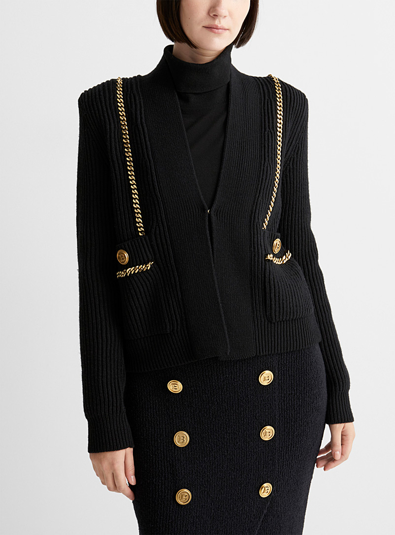 Gold chain ribbed cardigan