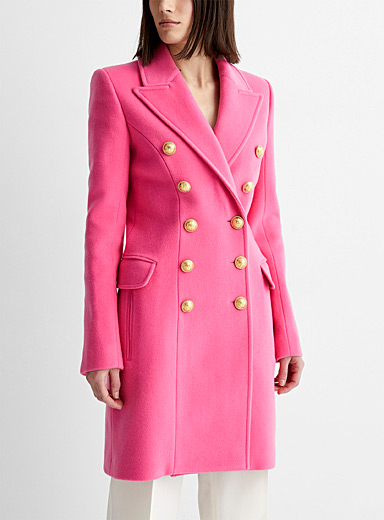 Candy pink double-breasted coat