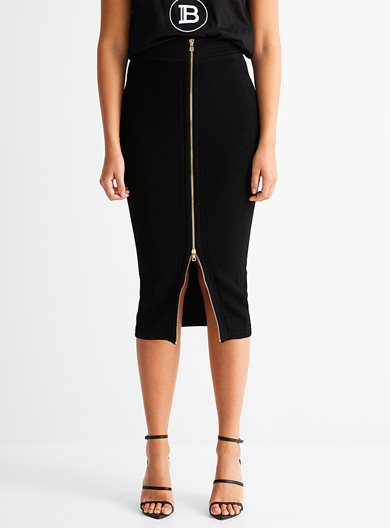 Balmain Black Diamond knit pencil skirt for women