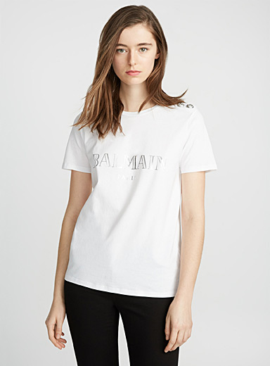 Buttoned-shoulder signature T-shirt