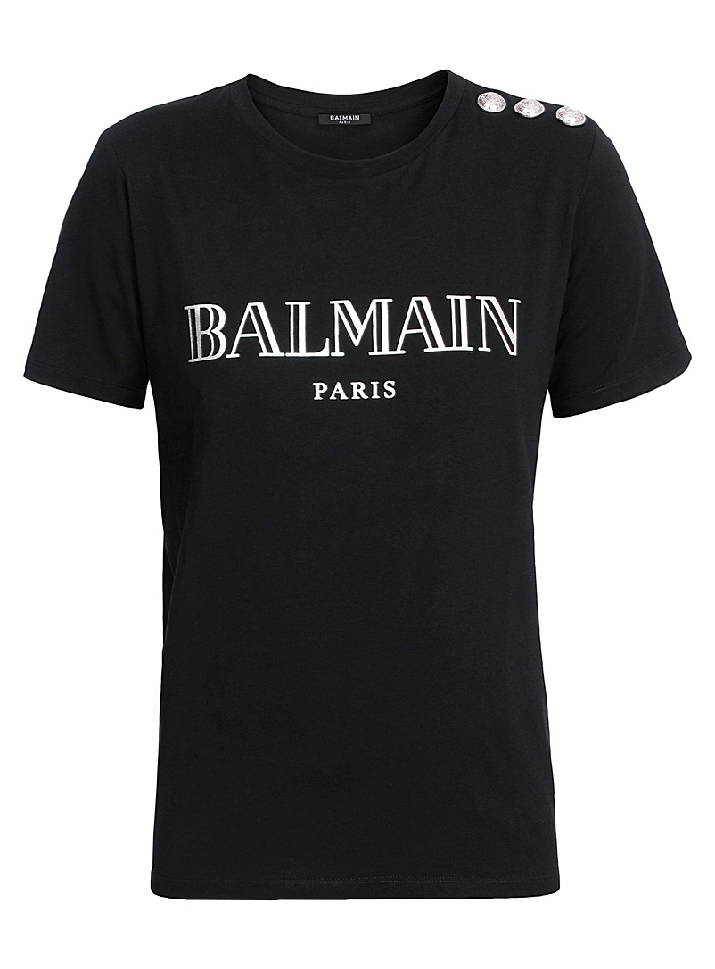 Balmain Black Balmain logo print T-shirt for women