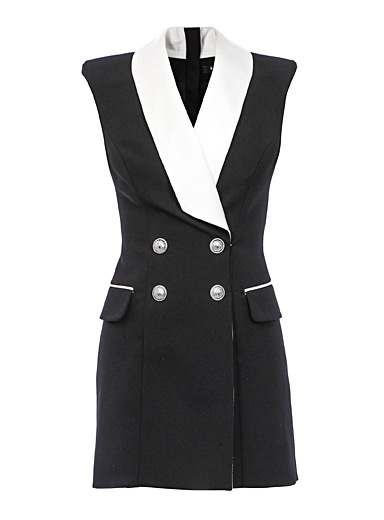 Sleeveless tuxedo dress