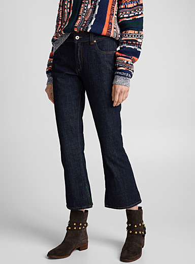 Indigo cropped flared jean