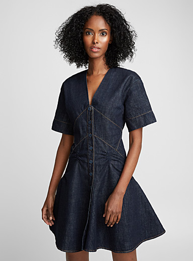 Topstitch indigo denim dress