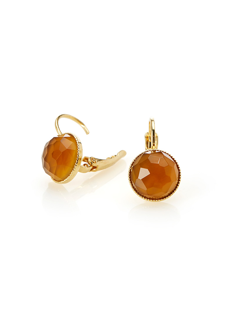 Pom orange crystal earrings - Designer Jewellery - Orange