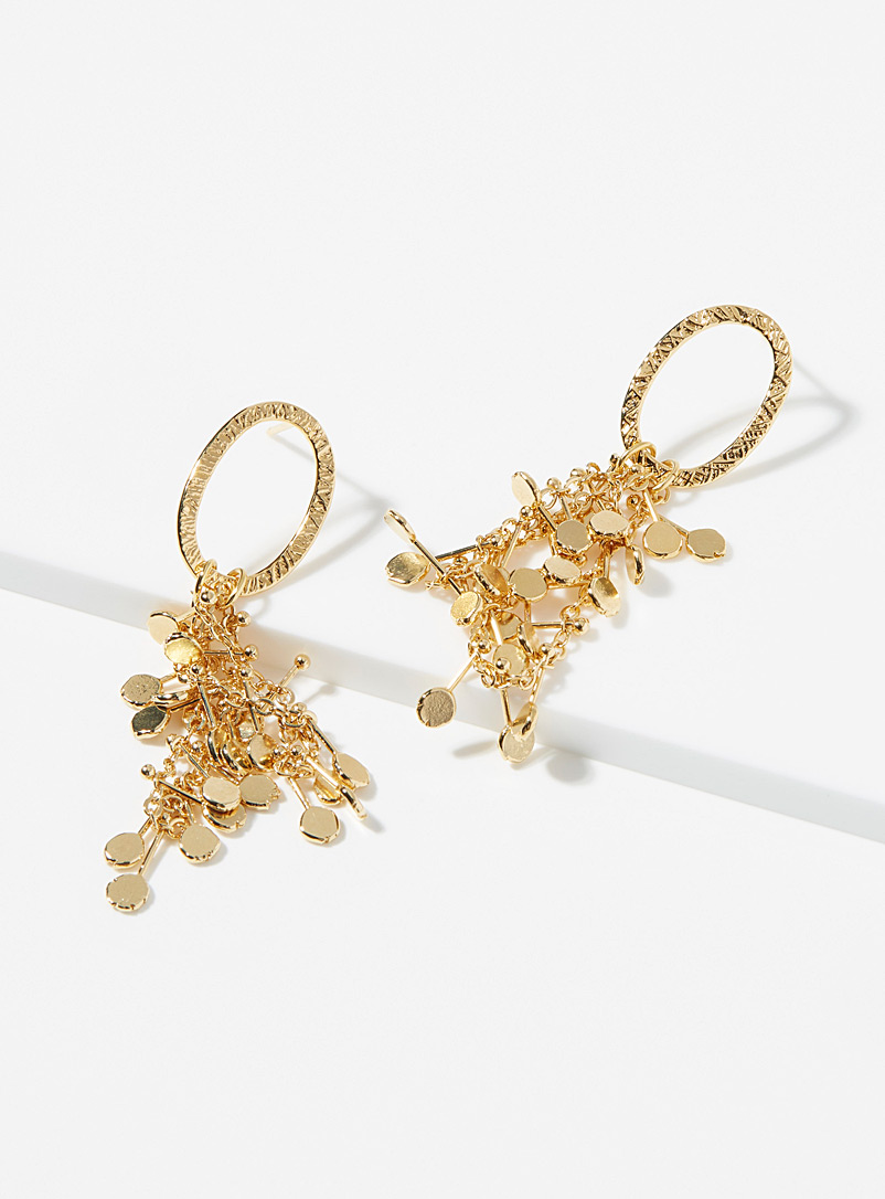 Eva Krystal Gold Sequin medallion earrings for women