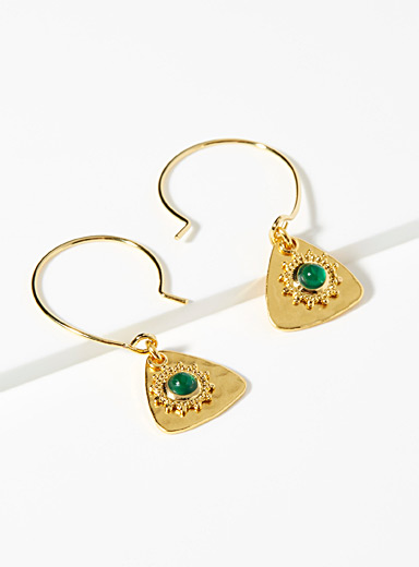 Eva Krystal Assorted Green agate earrings for women