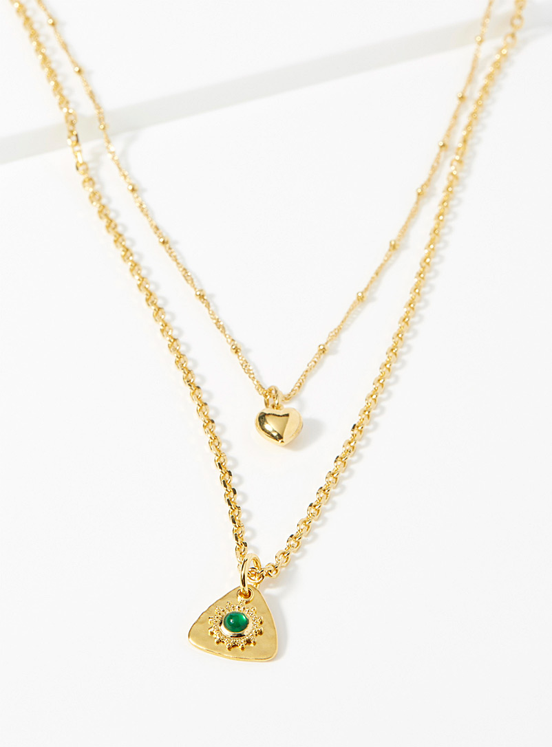 Eva Krystal Assorted Green agate multi-chain necklace for women