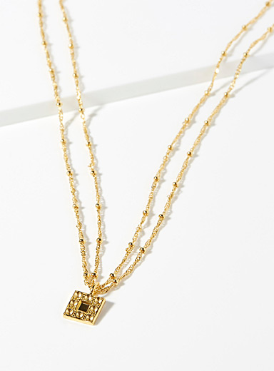 Textured gold square necklace