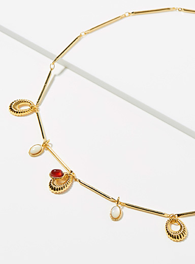Eva Krystal Assorted Gold and scarlet necklace for women