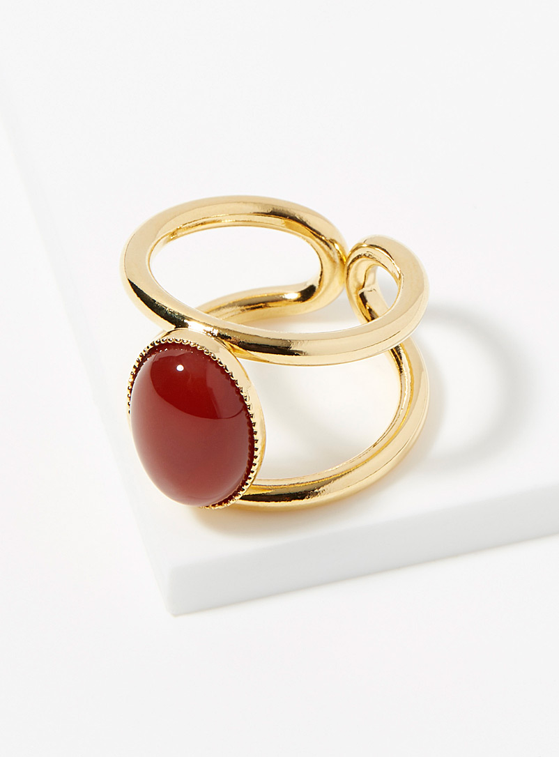 Eva Krystal Assorted red  Oval stone openwork ring for women