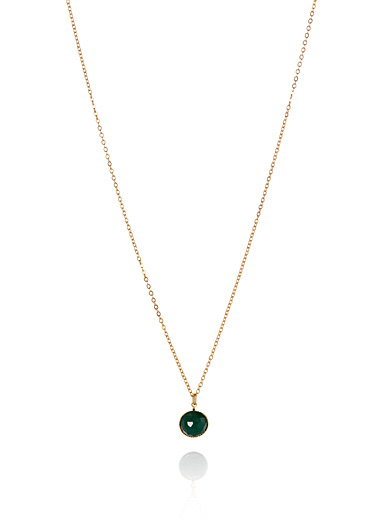 Pom green stone necklace