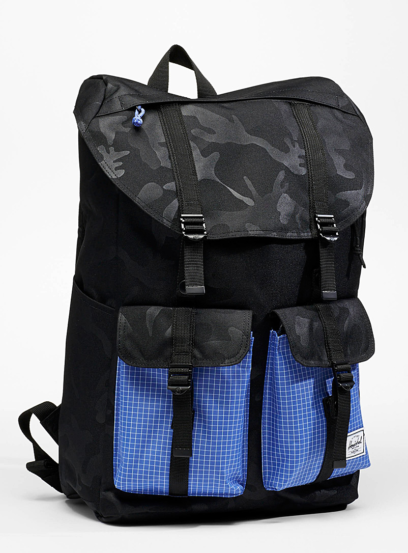 Herschel Patterned Blue Buckingham block backpack for men