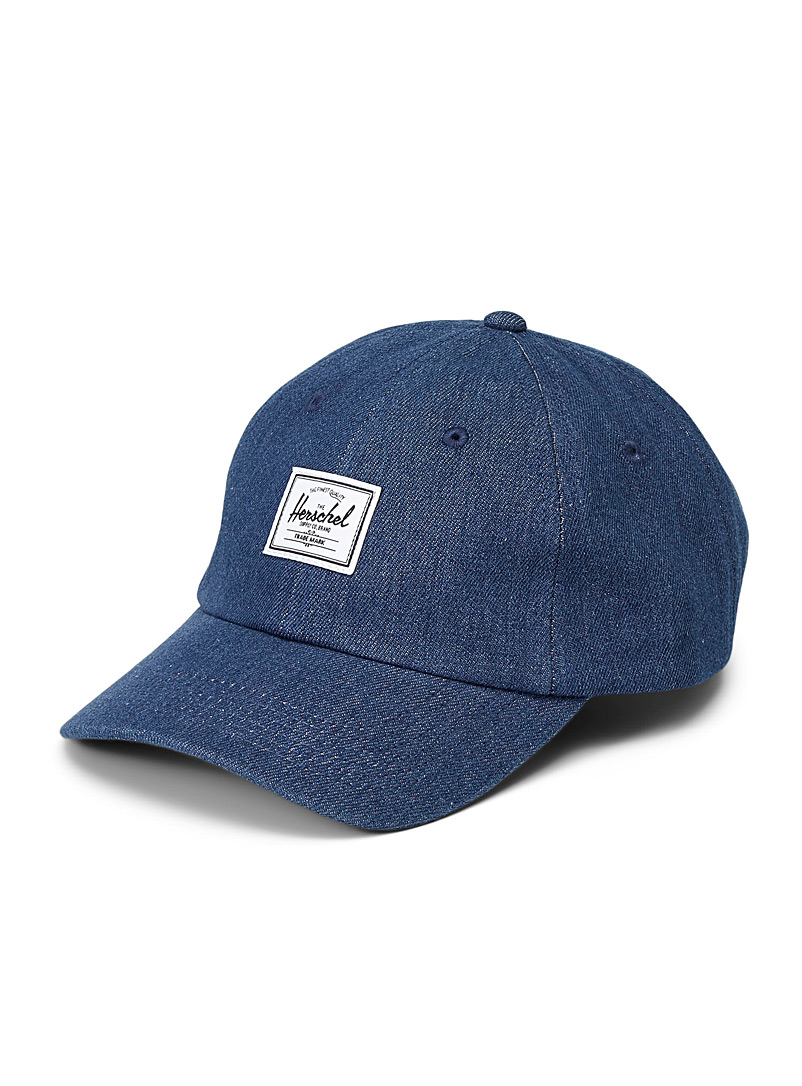 Herschel Marine Blue Sylas denim baseball cap for men