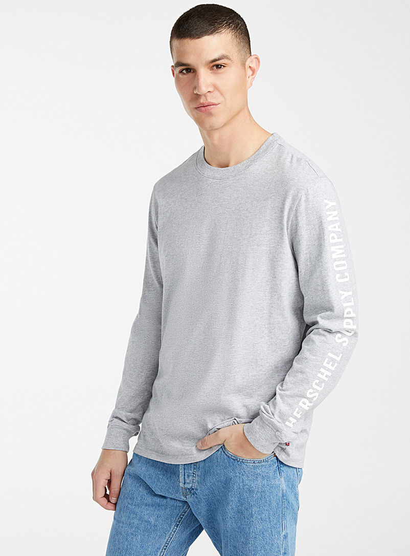 Herschel Grey Logo sleeve T-shirt for men