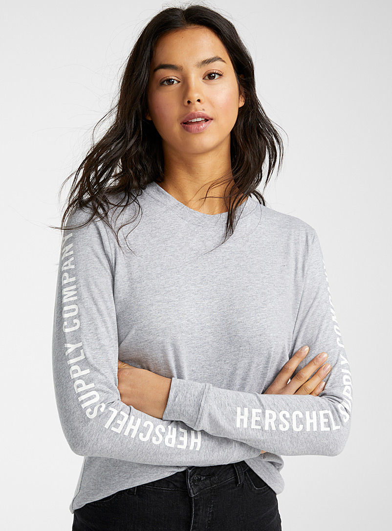 Herschel Dark Grey Printed sleeve tee for women