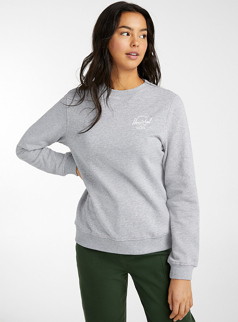 Herschel Dark Grey Small signature logo sweatshirt for women