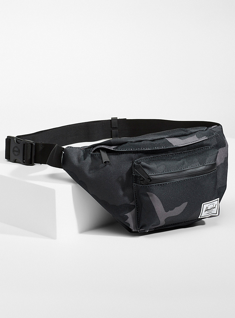 Herschel Patterned Black Seventeen coloured belt bag for men