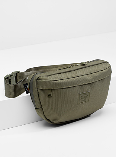 Herschel Mossy Green Nineteen textured belt bag for men