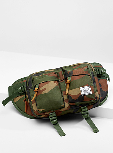 Herschel Patterned Green Eighteen camo belt bag for men