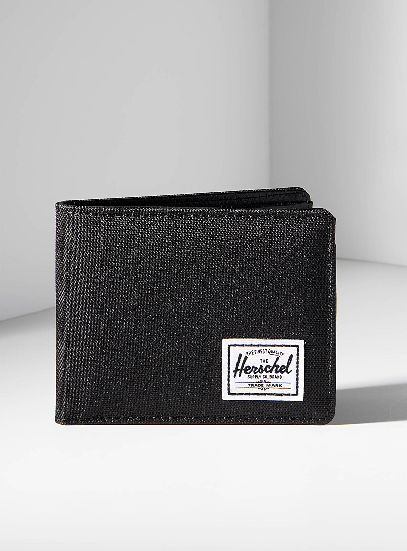 Herschel Black Hank mixed-media wallet for men