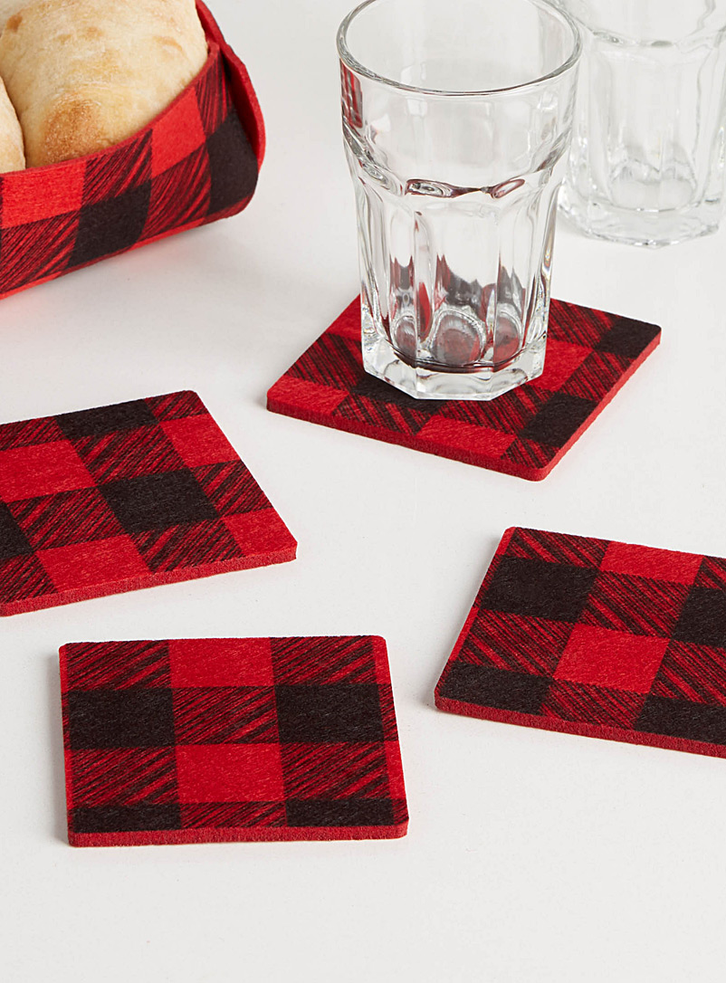 Buffalo check felt coasters  Set of 4