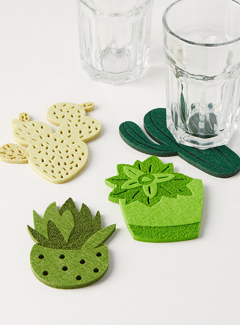 Simons Maison Assorted Cactus felt coasters  Set of 4