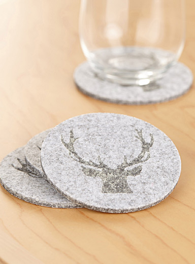 Etched deer felt coasters  Set of 4