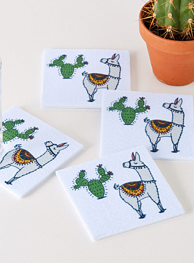 Desert llamas felt coasters  Set of 4
