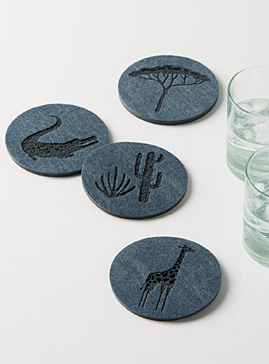 Tanzanian safari felt coasters  Set of 4